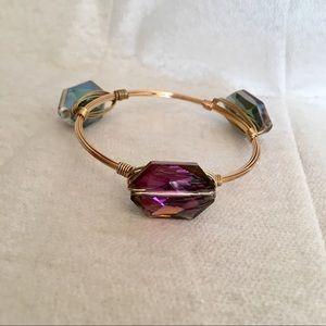 Metal Wire Bangle Bracelet w Iridescent Beads